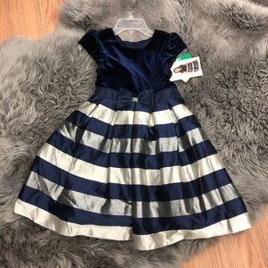 Jona Michelle | Girls Blue Velvet Dress | Size 8